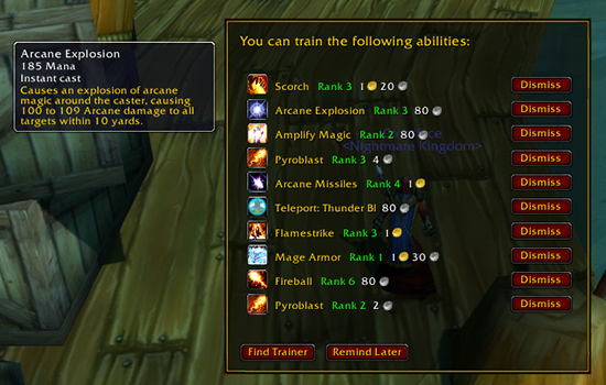 New Training Reminder Feature (WoW Classic)